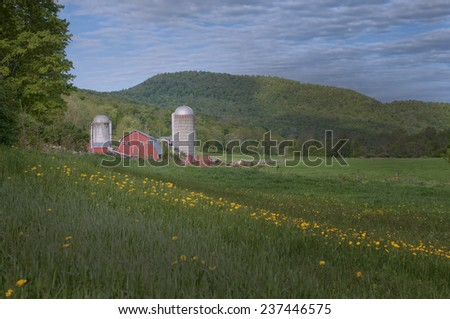 Barn on Farm in Bennington, Vermont - stock photo