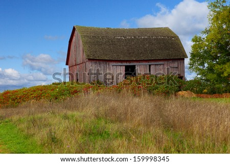 Barn on Old Mission Peninsula Michigan in the Autumn - stock photo