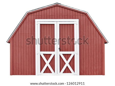 Barn style utility tool shed for garden and farm equipment, isolated on white background - stock photo