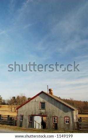 Barn Under Blue Sky - stock photo