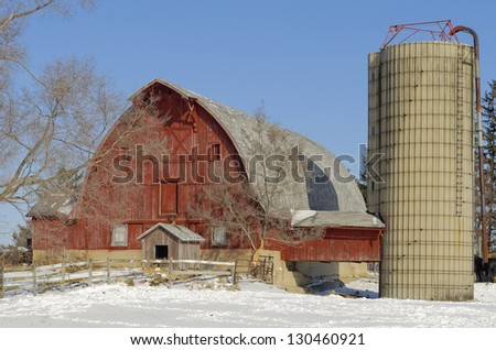 Barn with Covered Ramp to Silo