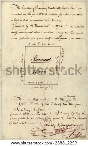 Barnard, Vermont. Originaly Bernard, a town chartered under a New Hampshire Grant . Plan of a land grand by Governor Benning Wentworth ca 1761