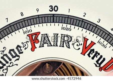 barometer; detail view showing 'Fair' - stock photo