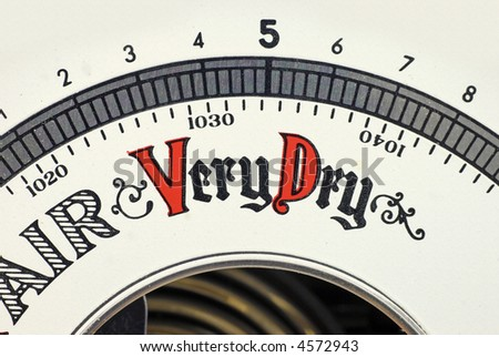 barometer; detail view showing 'Very Dry' - stock photo