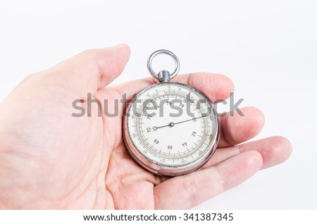 barometer in hand isolated on white background,atmospheric pressure