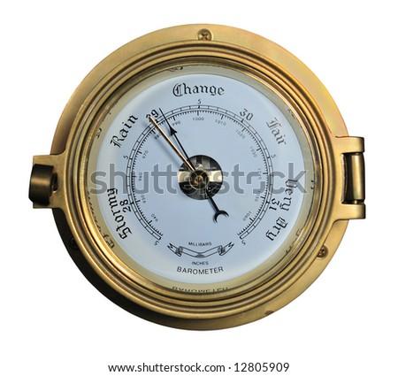 Barometer showing rainy weather isolated on white background. - stock photo