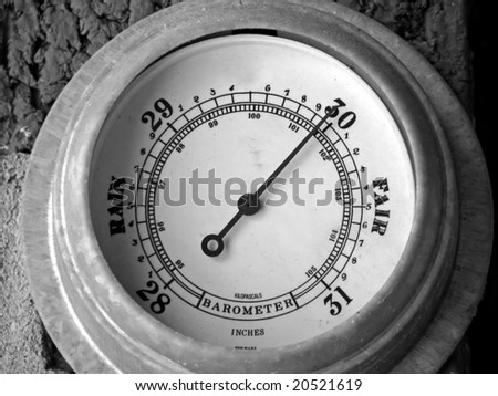 barometer with needle pointing towards fair weather - stock photo