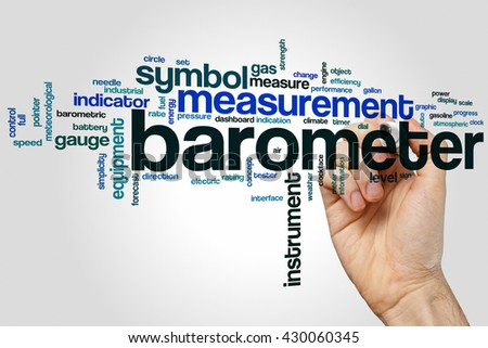 Barometer word cloud concept with instrument equipment related tags - stock photo