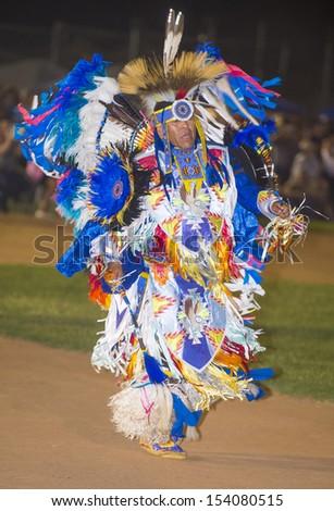BARONA , CALIFORNIA - AUG 31:Native American man takes part at the Barona 43rd Annual Barona Powwow in California on August 31 2013 ,Pow wow is native American cultural gathernig event. - stock photo