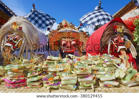 Barong Ket and 2 Rangda - traditional spirits of Bali island at temple ceremony Melasti before Balinese New Year and silence day Nyepi. Holidays, festivals, rituals, art, culture of Indonesian people. - stock photo