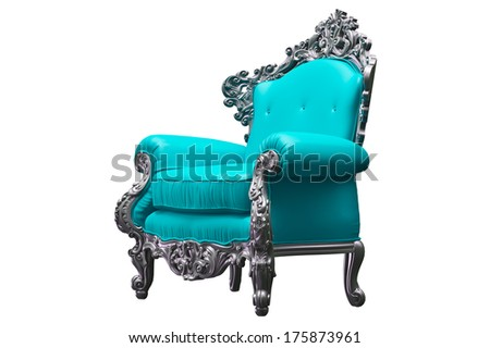 Baroque armchair with teal worker strikes - stock photo