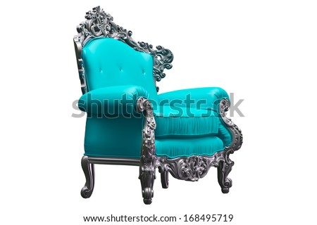 Baroque armchair with tpink worker strikes - stock photo