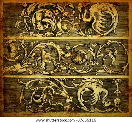 Baroque banners engraving on vintage paper - stock photo