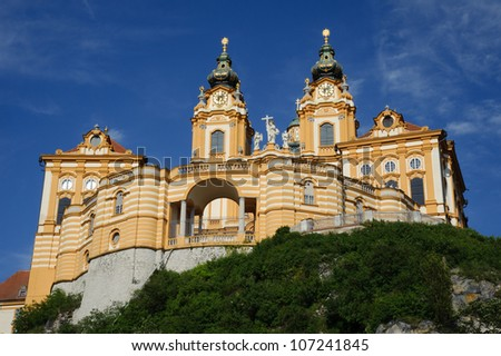 Baroque benedictine abbey in Lower Austria's town Melk - stock photo