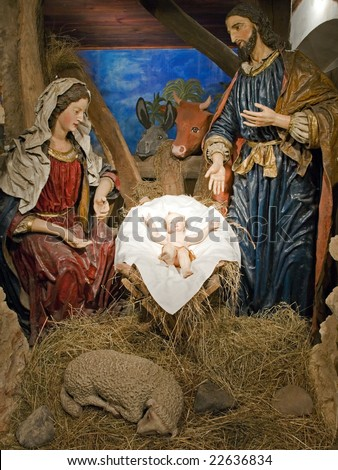 Baroque Bethlehem in Prague - Holy Family. 48 figures Bethlehem made in 17th century by monk Kaspar. Artwork from straw, paper, gypsum and original clothes. - stock photo