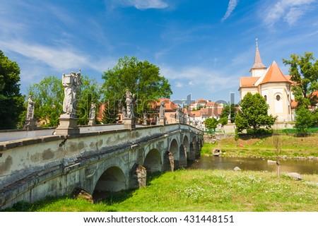 Baroque bridge with statues in Namest nad Oslavou, Czech Republic - stock photo
