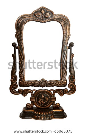 Baroque bronze mirror frame on stand on white isolated background - stock photo