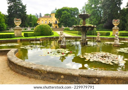 Baroque Buchlovice castle, Moravia, Czech Republic, view from beautiful garden - stock photo