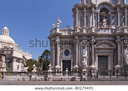 Baroque church in Catania Sicily Italy, St Agatha cathedral in main city square - stock photo
