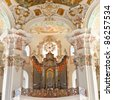 Baroque church organ in Steinhausen, Germany. - stock photo