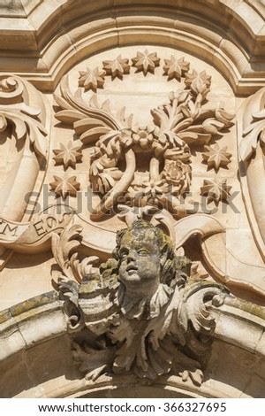 baroque details in San George cattedral, Modica, Sicily, Italy, Europe