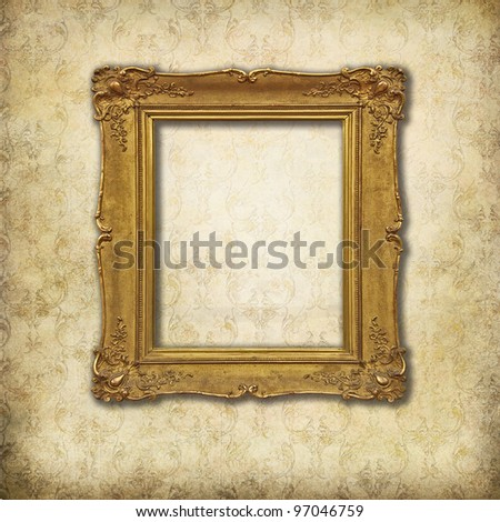 baroque empty frame on a grunge Victorian texture - stock photo