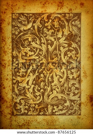 Baroque engraving on vintage paper - stock photo