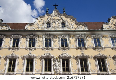 Baroque facade of the Falkenhaus building in Wurzburg, Germany - stock photo