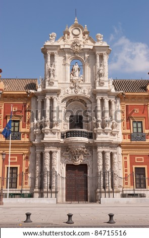 Baroque facade of the Palace of San Telmo in Seville. Its costruction began in 1682 and it housed the University of Navigators. It is the seat of the presidency of the Andalusian Autonomous Government