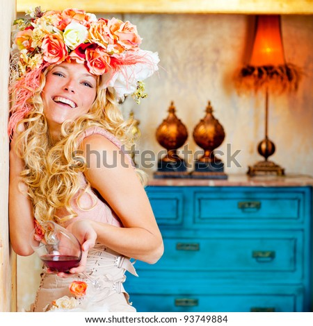 baroque fashion blond woman drinking red wine in grunge house - stock photo