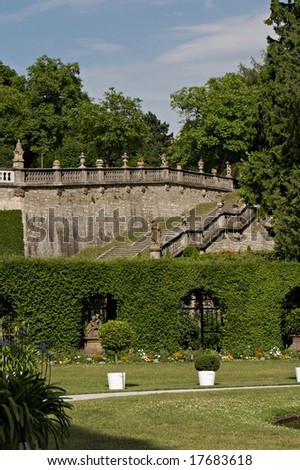 Baroque garden of Bishops Residence in Wurzburg (Germany)