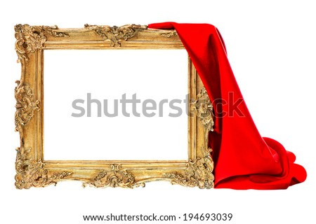 baroque golden frame with red silk decoration isolated on white background - stock photo