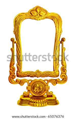 Baroque golden mirror frame on stand on white isolated background - stock photo