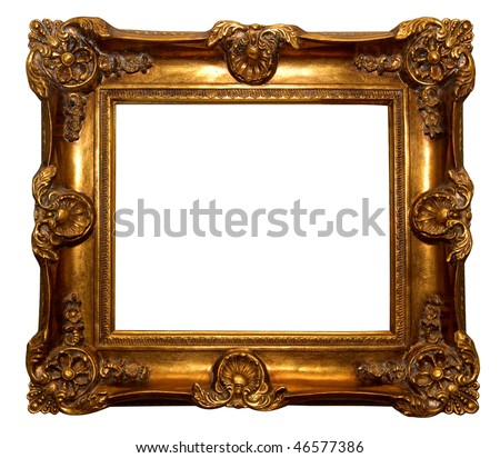 Baroque golden picture frame isolated over white background - stock photo