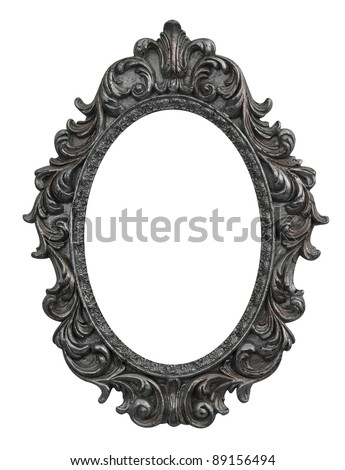 baroque oval frame with silver leafs - stock photo