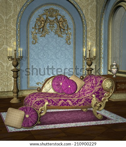 Baroque room background  - stock photo