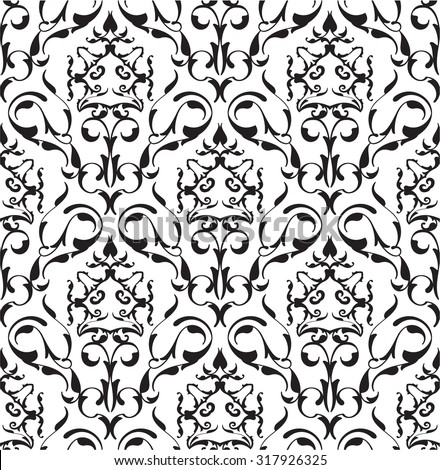 Baroque seamless art pattern on white - stock photo