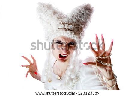 Baroque spooky shoot. Focus on face. - stock photo