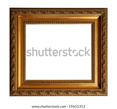 Baroque square picture frame to put your own pictures in. File contains clipping path - stock photo