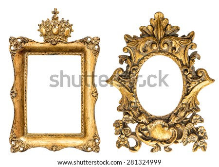 Baroque style golden picture frame isolated on white background. Vintage object