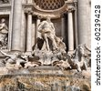 Baroque Trevi Fountain (Fontana di Trevi) in Rome, Italy - high dynamic range HDR - stock photo