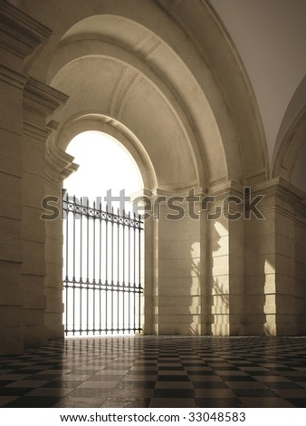 Baroque vaulted entrance hall with sun rays and dust particles (3D render) - stock photo