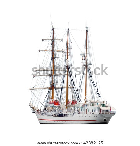 Barquentine isolated on white background