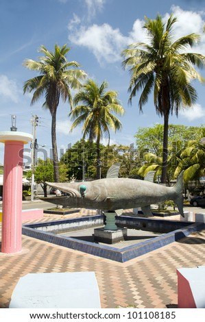 barracuda fish monument statue in park San Andres Island Colombia South America - stock photo