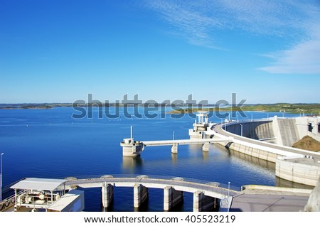 Barrage of Alqueva, south of Portugal  - stock photo