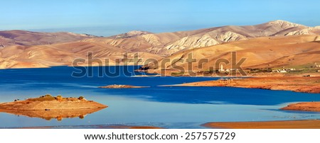 Barrage Sidi Chahed in the province of Meknes-Tafilalet, Douar Nzala, Morocco - stock photo