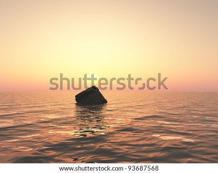 barrel in the water - stock photo
