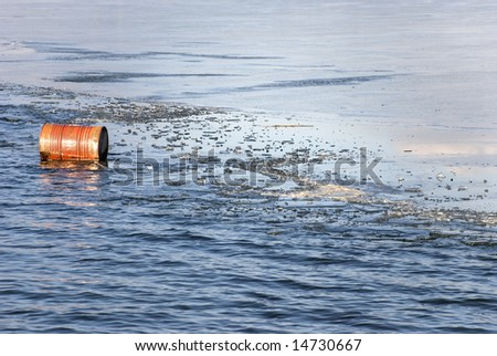 barrel in water and ice