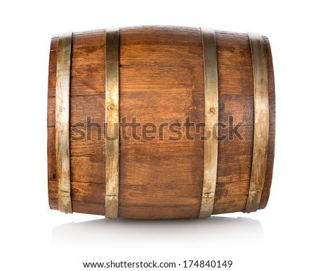 Barrel made of wood isolated on a white background - stock photo