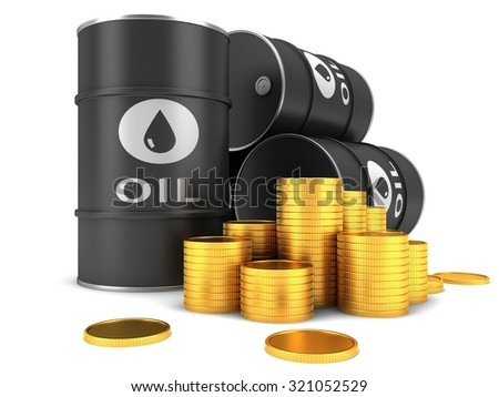 Barrel of oil and coins on a white background - stock photo